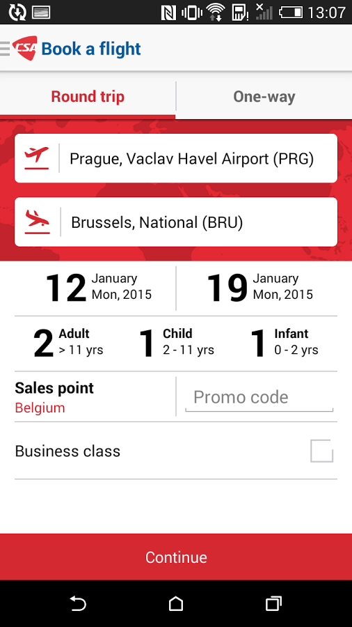 application mobile Czech airlines