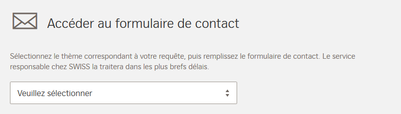 Prise de contact swiss air via le formulaire
