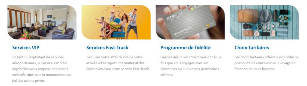 Poser des questions sur les services disponibles au service client de Air Seychelles